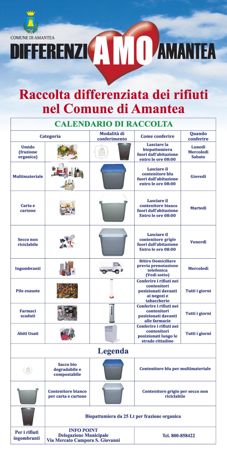 Raccolta Differenziata dei Rifiuti – Calendario di raccolta