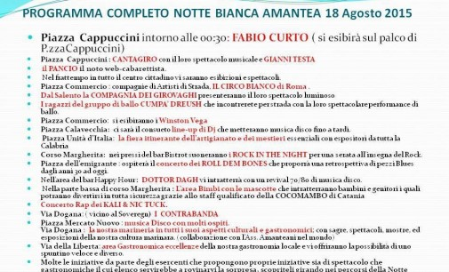 Programma Notte Bianca Amantea 18 agosto 2015