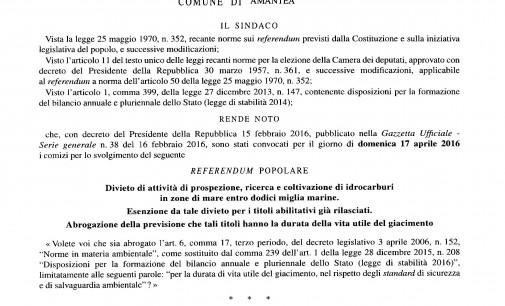Referendum Popolare del 17 Aprile 2016 – Convocazione dei Comizi