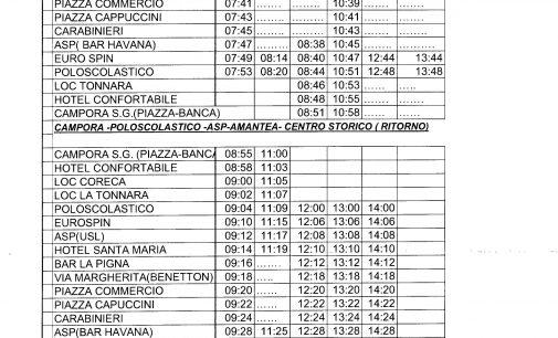 Servizio di Trasporto Urbano: Amantea – Polo Scolastico – Campora San Giovanni dal 14.09.2016 al 09.06.2017