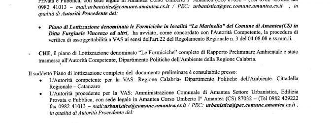 """Piano di lottizzazione denominato """"Le Formiciche"""" in Località La Marinella. Avvio della consultazione ai fini della verifica di assoggettabilità a V.A.S."""