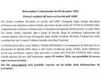 Referendum Costituzionale del 04 dicembre 2016 –  Elettori residenti all'estero ed iscritti nell'AIRE