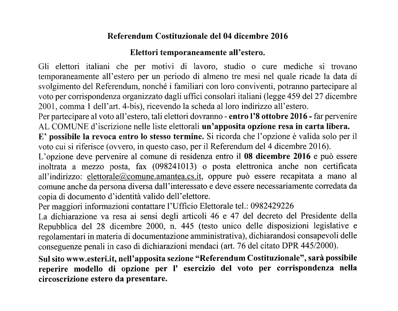 Referendum Costituzionale del 04 dicembre 2016 – Elettori temporaneamente all'estero