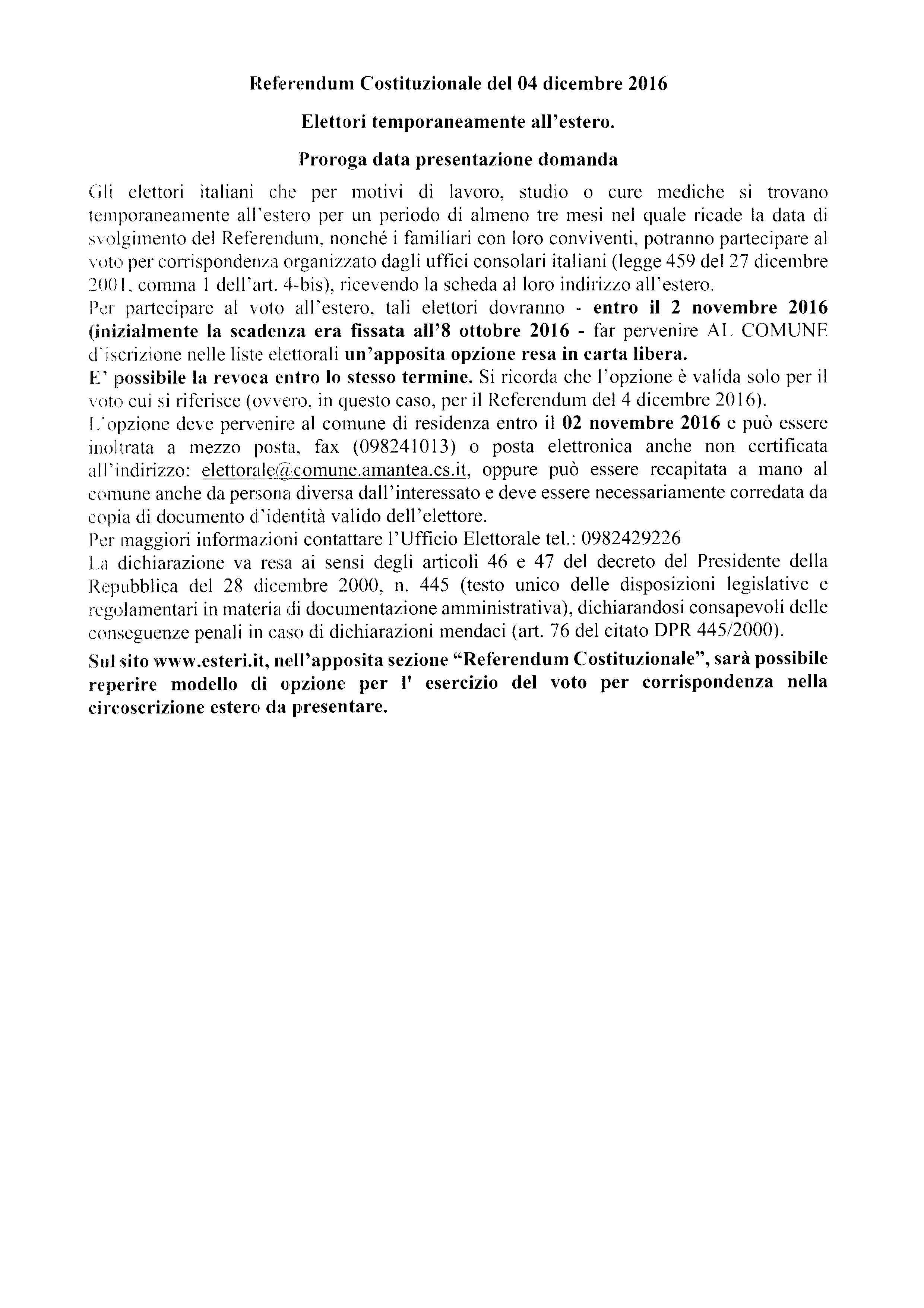 Referendum Costituzionale del 04 dicembre 2016 – Elettori temporaneamente all'estero. Proroga presentazione domanda
