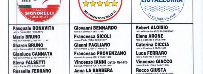 Elezioni Amministrative dell'11 giugno 2017. Liste dei Candidati per l'elezione diretta del Sindaco e di n°16 Consiglieri Comunali