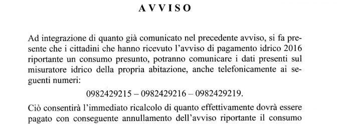 Avviso Bollette servizio Idrico 2016