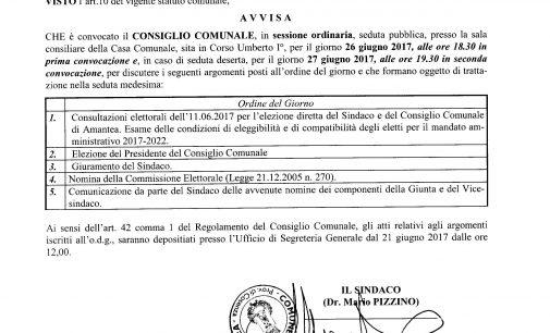 Convocazione Consiglio Comunale gg. 26 giugno 2017 ore 18.30