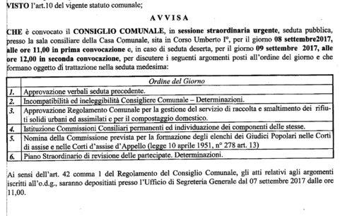Convocazione Consiglio Comunale – sessione straordinaria urgente gg. 08 settembre 2017 ore 11.00
