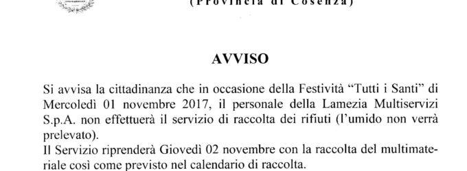 """Festività di """"Tutti i Santi"""" giorno 01 novembre 2017. Avviso sospensione servizio raccolta rifiuti."""
