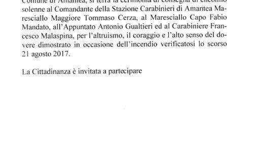 Cerimonia di consegna encomio solenne – Sala Consiliare Comune di Amantea gg. 15.01.2018 ore 10:00