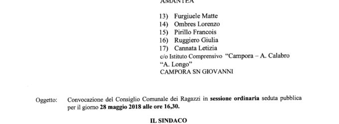 Convocazione Consiglio Comunale dei Ragazzi 28 maggio 2018.