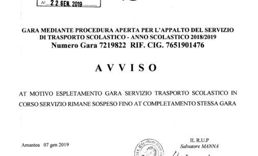 Avviso di Sospensione Gara mediante procedura aperta appalto servizio trasporto scolastico Anno Scolastico 2018/2019