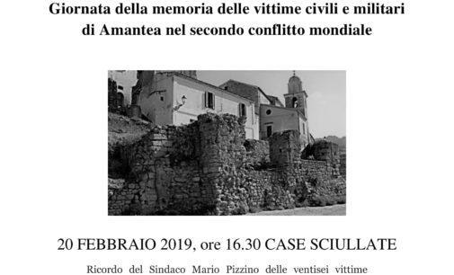 Giornata della memoria delle vittime civili e militari di Amantea nel secondo conflitto mondiale – 20 febbraio 2019