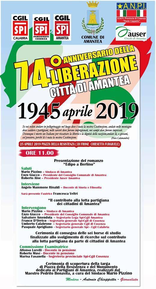 74° Anniversario della Liberazione – 25 aprile 2019 ore 11.00