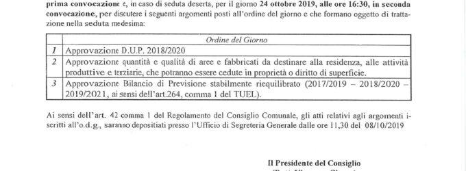 Convocazione Consiglio Comunale del 23.10.2019 ore 11.30