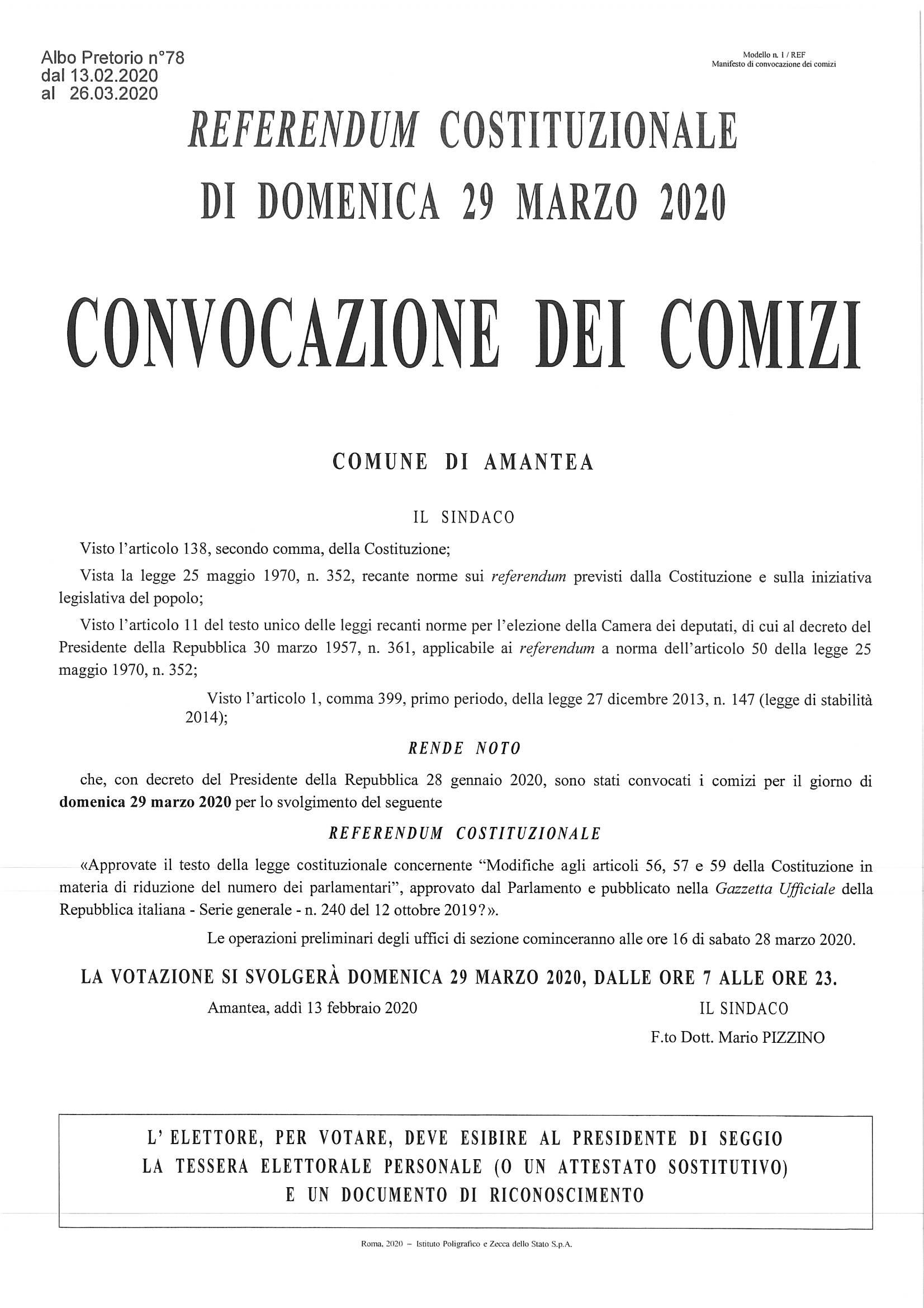 Referendum Costituzionale del 29  Marzo 2020 – Convocazione dei comizi