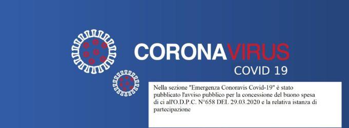Comunicazione pubblicazione avviso pubblico per la concessione del buono spesa di cui all'O.C.D.P.C. n°658 n°658 del 29/03/2020 – Scadenza 07 aprile 2020