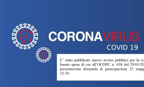 avviso pubblico per la concessione del buono spesa di cui all'OCDPC n. 658 del 29/03/2020. Scadenza presentazione domanda di partecipazione 25 maggio 2020, ore 12:30