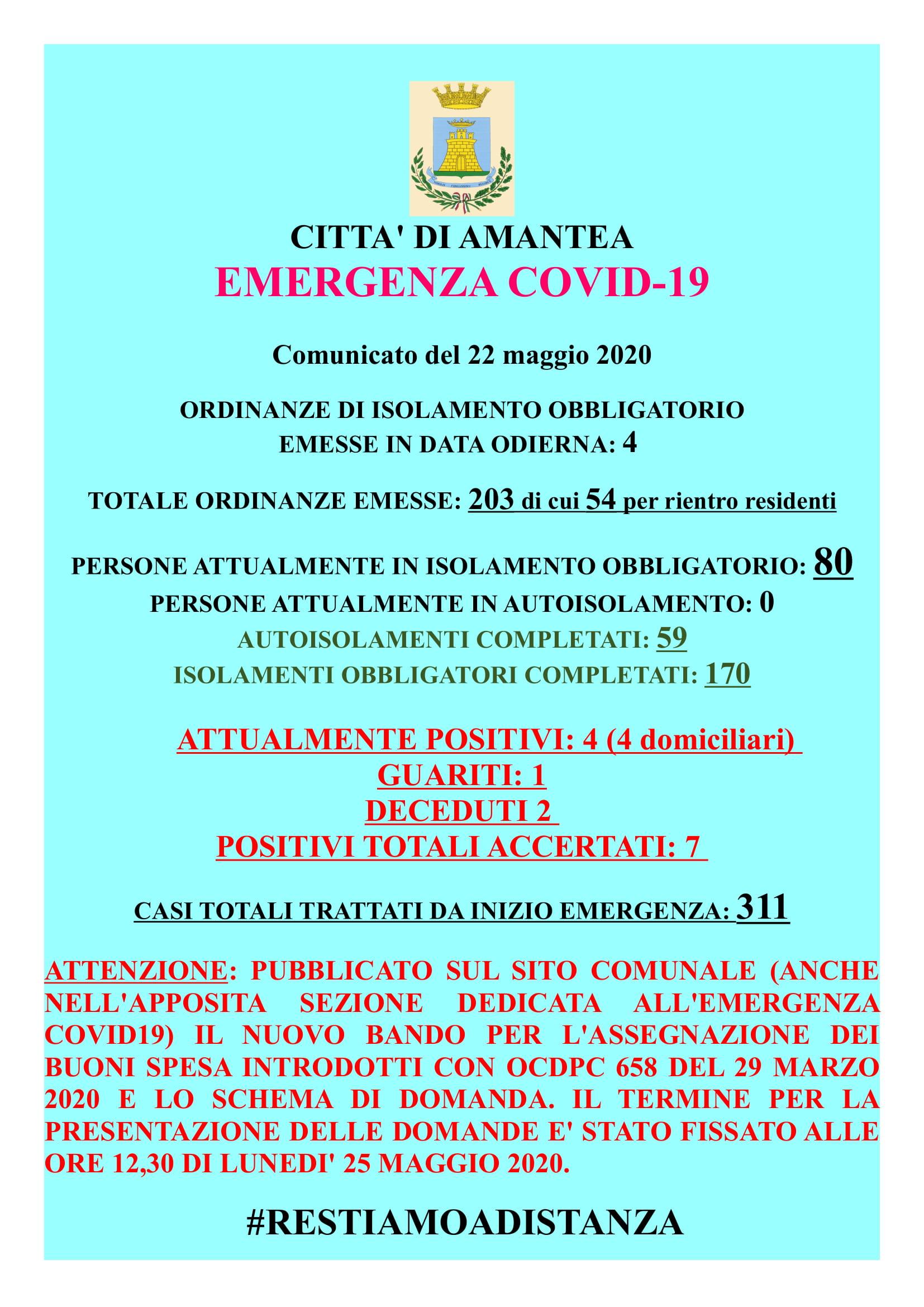 EMERGENZA COVID-19 Comunicato del 22 Maggio 2020