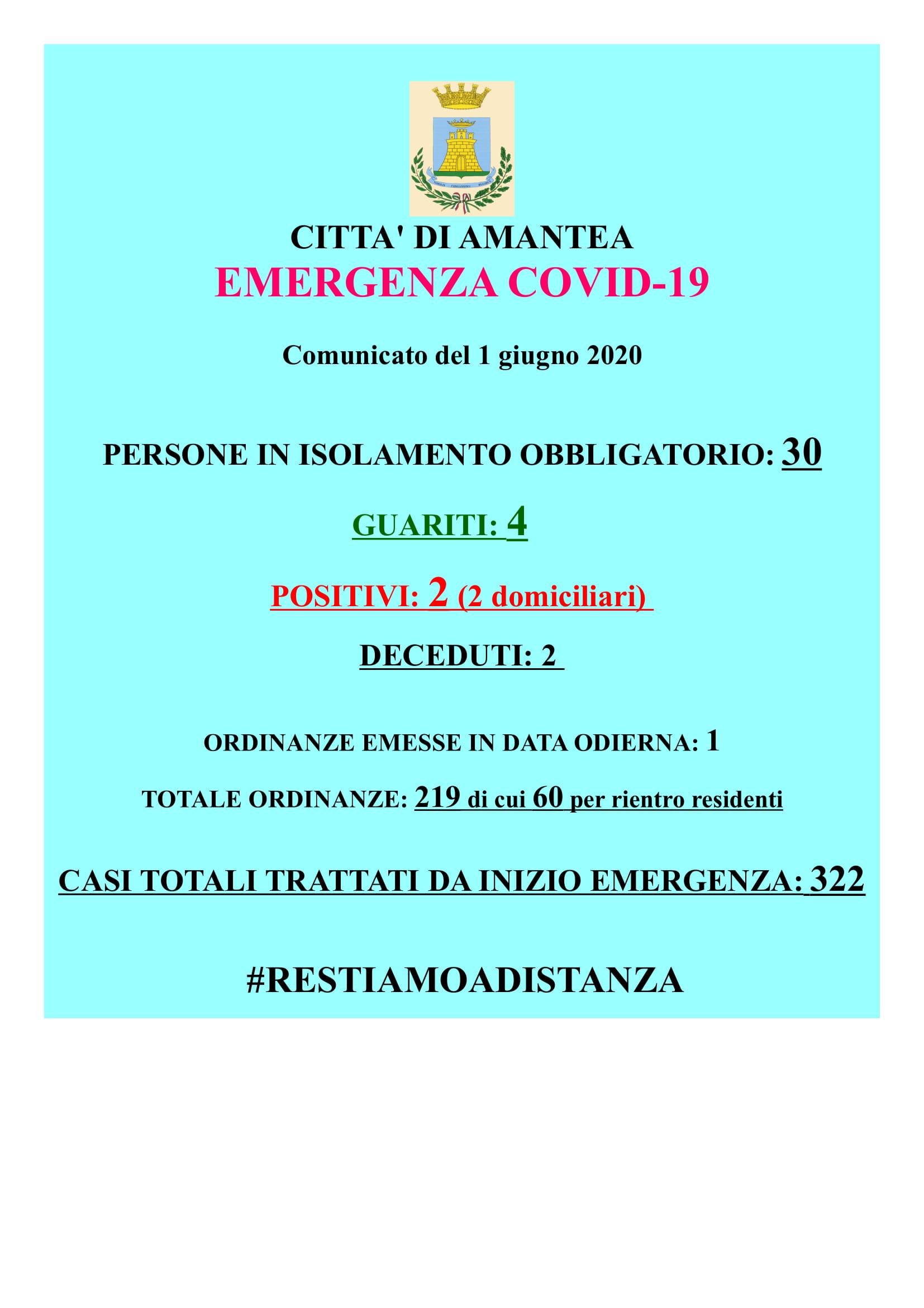 EMERGENZA COVID-19 Comunicato del 01 giugno 2020