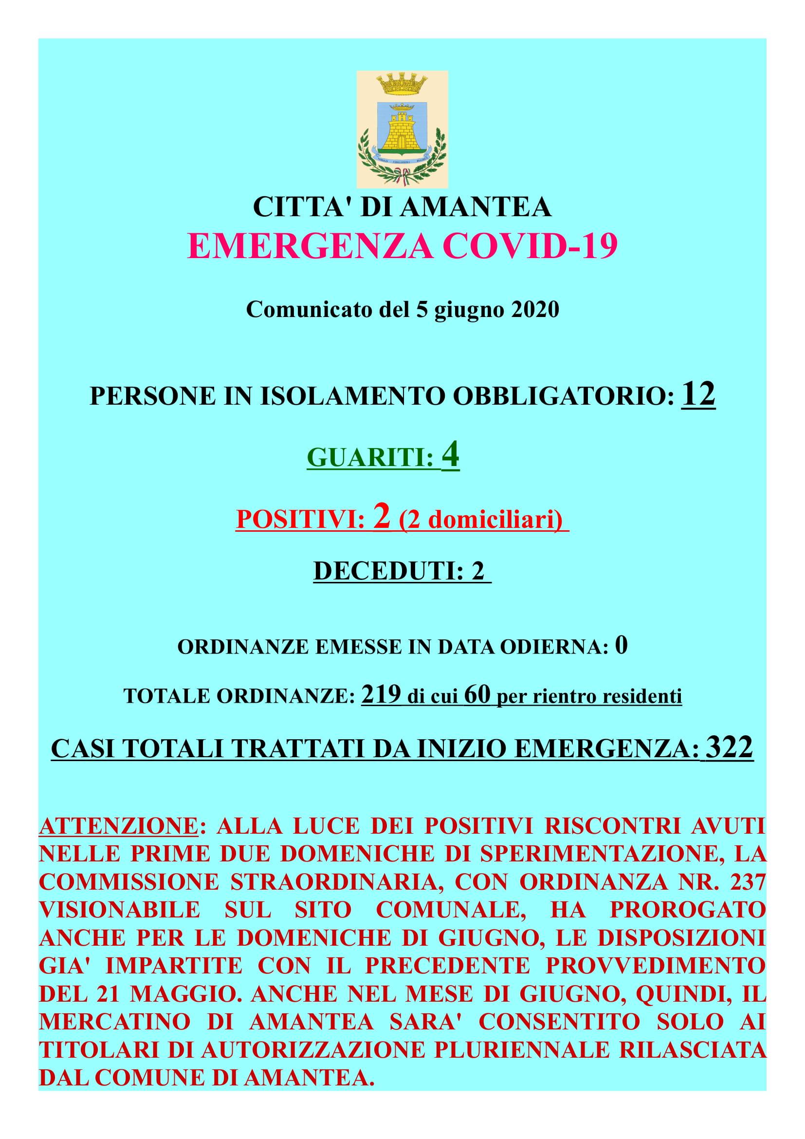EMERGENZA COVID-19 Comunicato del 05 giugno 2020